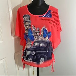 Tops - Red Women's Top Vintage Truck American Flag